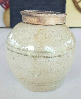 Antique 1800's Chinese Ginger Jar With Ceramic Lid