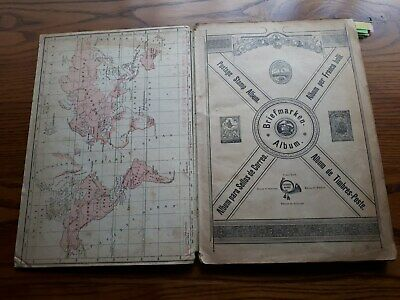 Old  Postage Stamp Album:  British Colonies & World  - 800 Used & Mint Stamps.