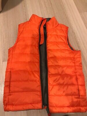 BOYS SIZE 4-5 David Jones WARM PUFF VEST ZIP UP Orange Euc