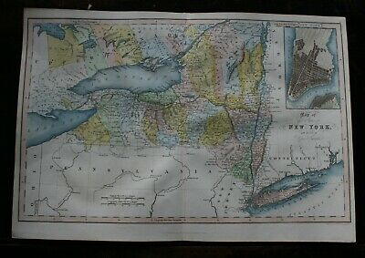 Antique map of The State of New York by J Hinton hand coloured published 1831