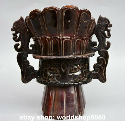 """6"""" Rare Chinese Ox Bull Horn Dynasty Dragon Beast Handle Wine Pot goblet Marked"""