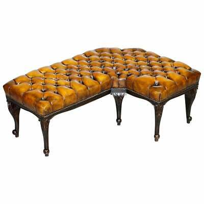 Fully Restored Victorian Chesterfield Brown Leather Corner Bench Stool Seat