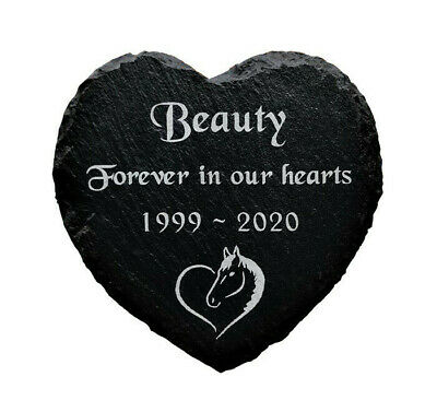 Personalised Engraved Slate Stone Heart Pet Memorial Grave Marker Plaque Horse
