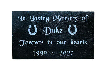 Personalised Engraved Slate Pet Memorial Grave Marker Headstone Plaque Horse