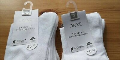 Next White Knee Length School Socks Size 4-7. 6 Pairs New.