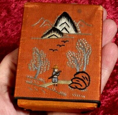 VINTAGE CHINESE JAPANESE? EMBROIDERED SILK CARD CASE ETUI oriental hand stitched