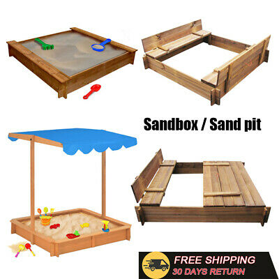 Wooden Sandbox Closed w/ Benches Play Kids Outdoor Garden Games Sand pit 4 Style