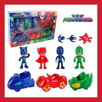 Set Lot 10Pcs Car Figurines Les Pyjamasques Pjmasks Jeu Jouet Yoyo Bibou Gluglu