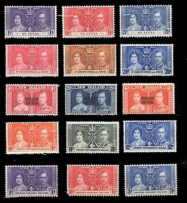 Commonwealth Colonies X5 Mnh Og -   Kg Vi 1937 Coronation Issues Vf