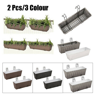Rattan Planter Garden Wall Troughs Boxes Outdoor Hanging Baskets Pots 50/80 cm
