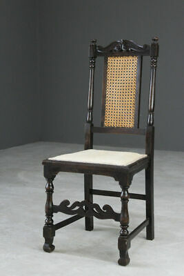 Antique Traditional Early 20th Century Carved Oak Side Occasional Hall Chair