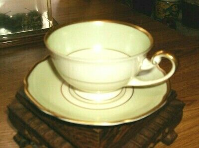 Tea Cup and Saucer Bavarian Tirschenreuth Germany in green with gold trim Pasco
