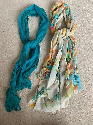 Two Multicolured Summer Scarves/Shawls One Size