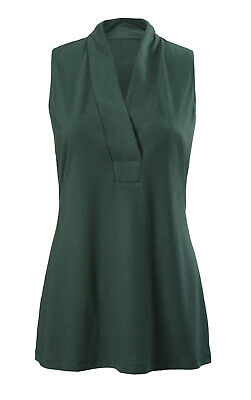 CAbi Style #3063 Sleeveless Placket Tee Tank Top Hunter Green V-Neck size Large