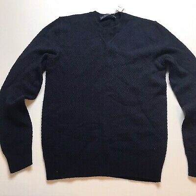 Gap Mens Dark Blue Pullover Lambswool Blend Sweater Size Small New. A739
