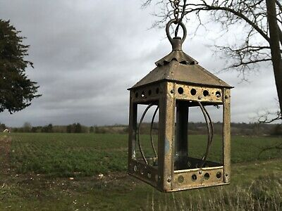 Antique French Arts and Crafts Brass Lantern