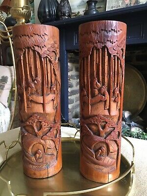 Antique Chinese Bamboo Vases Pair C. 19th Hand Carved Brush Pots