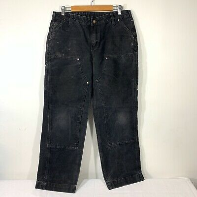 CARHARTT Womens Black Relaxed Fit Kane Double Front Dungaree Pants sz 12