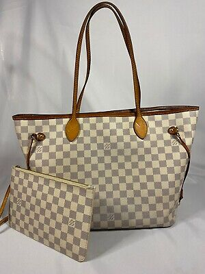 Authentic LOUIS VUITTON Neverfull MM Damier Azur Shoulder Tote Bag w/ Pouch