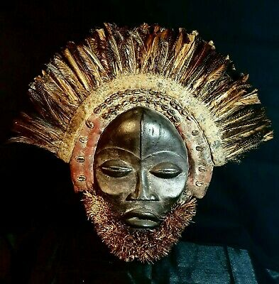 Mask African Carved Wood Tribal Wall Hand Vintage Art Wooden Face Decor 1285