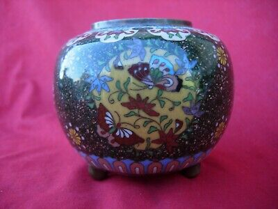 Unusual  Chinese China Cloisonne Bowl VINTAGE OLD Butterfly  Phoenix