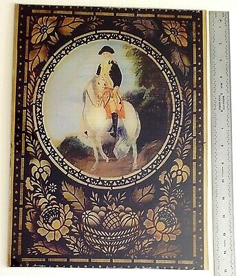 REPRODUCTION REVERSE PAINTED TABLET FOR LARGE WOODEN WORKS CLOCKS MADE ca.1830's