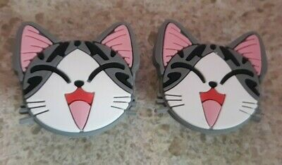 Lot of 2 Tabby Cats charms for Croc shoes Craft. Scrapbook or cake decorating