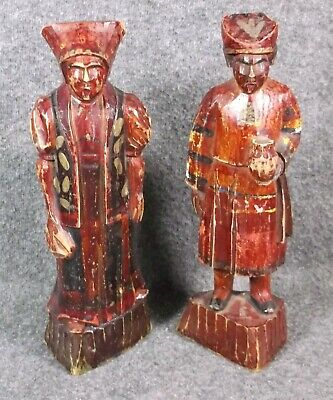 Vintage Pair Of Asian Style Hand Carved Wood Figures