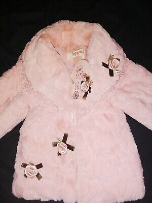 BNWT Girls Boutique GORGEOUS Pink Faux Fur Trench Parka Coat Jacket 2-3 Years