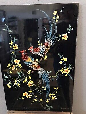 Vintage Hand Carved Painted Birds Pheasants Blossoms Wood Wall Hanging 24""