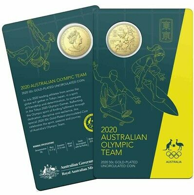 2020 50c Round CuNi Gold Plated Uncirculated Coin Australian Olympic Team
