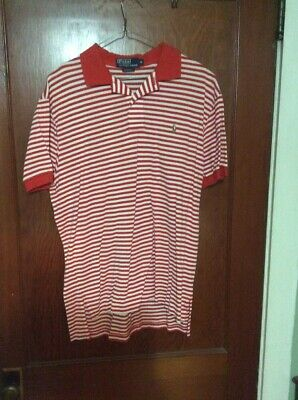 Mens Polo By Ralph Lauren Red Stripe Pima Cotton Size Medium