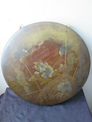 Antique old Japanese MEIJI era PERIOD etched BRONZE GONG With birds and SNAIL
