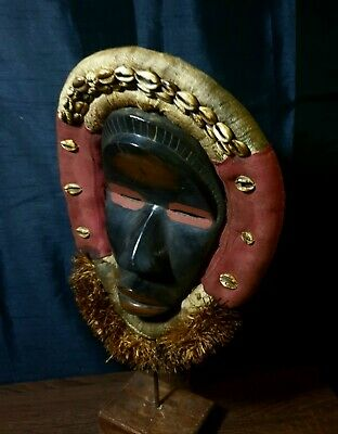 Mask African Carved Wood Tribal Wall Hand Vintage Art Wooden Face Decor 1289