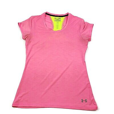 UNDER ARMOUR Womens Heat Gear Running Short Sleeve Shirt Pink Yellow Sz S