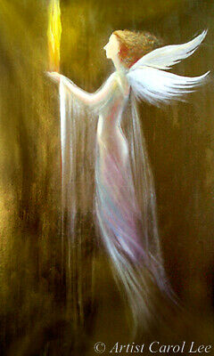 Original painting modern fine art contemporary angel acrylic textured canvas