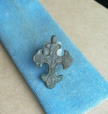 Ancient Byzantine Large Bronze Christian Cross with Ornament Very Rare Type