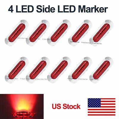 10X 12V 24V Red 4 SMD Front Side LED Marker Tail Light Clearance Truck US Stock