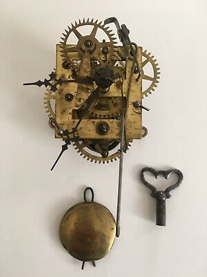 antique wall clock movement Does Tick Key And Pendulum Included