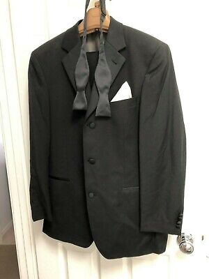 Hugo Boss Tuxedo Dinner Suit Size 50 Aus large Black Wool + bow tie + YSL shirt