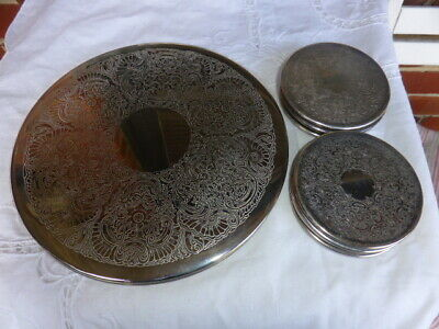 Reduced Vintage Strachan 8 Silverplated Drink Coasters Plus 2 Plate