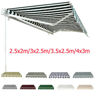 Retractable Manual Awning Canopy Outdoor Patio Garden Sun Shade Shelter 4 Sizes