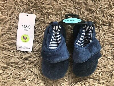 M&S Marks & Spencer Baby Slipper Shoes (Blue) Ages 6-12 Months - BNWT
