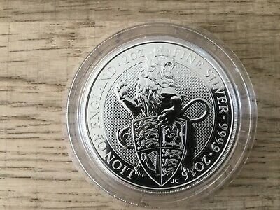 🇬🇧 2016 Queen Beast 2oz (Fine Silver 999.9 )White Lion of England coin Capsule