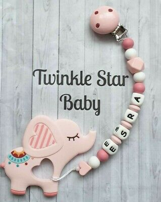 Personalised Elephant Silicone Teether Clip. Can also use as a Baby Dummy Chain