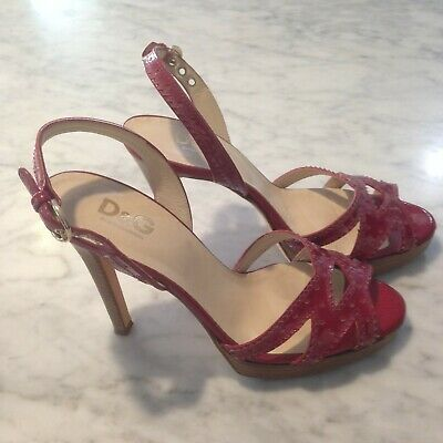 D & G Dolce And Gabbana Red Patient Shiny Leather High Heels Size 38