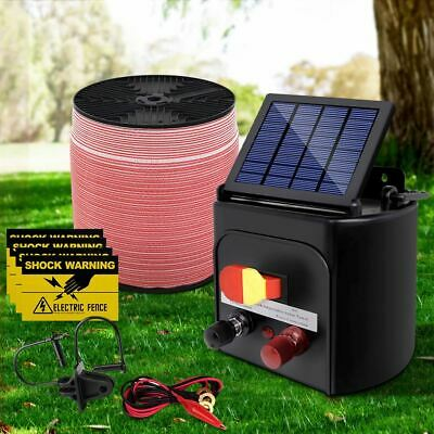 3 Km Solar Powered Electric Fence Energizer Livestock Farm Animals Fencing Wire