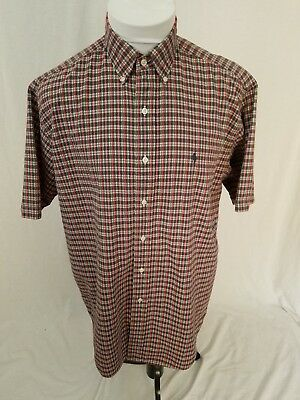 POLO RALPH LAUREN Red Gray Plaid S/S SEERSUCKER Pony Logo Shirt Mens Medium EUC