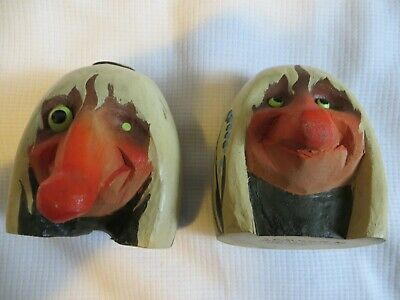 TWO Henning Norway Hand Carved Troll Gnome Candle stick holders - VINTAGE!