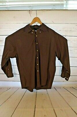 BROOKS BROTHERS Mens Size Large Long Sleeve Button Down Shirt Grey Plaid
